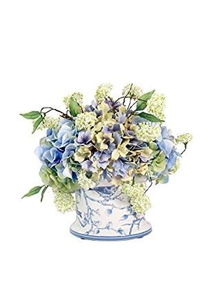 Creative Displays Inc. Victorian Hydrangea and Snow Ball Planter, White/Green/Blue