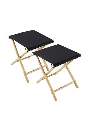 ZEW, Inc. Set of 2 Outdoor Bamboo Foldable Stools, Black