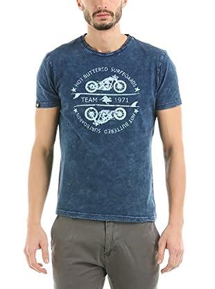 HOT BUTTERED Camiseta Manga Corta Motorbike (Indigo) Azul Marino M