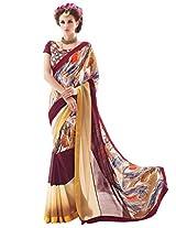 Inddus Women Multi Colored Pure Georgette Printed Fashion Saree