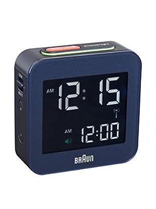 Braun Global Radio Controlled Travel Alarm Clock, Blue