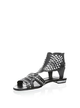 Schutz Women's Feriel Flat Sandal (Black/Prata)