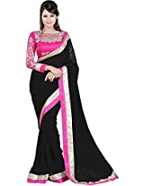 Trendzstyle Awesome Georgette Saree With Embroidery Blouse Piece_FDLBLACK