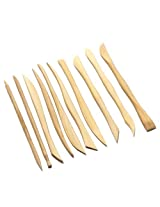 Set of 10 high quality wooden clay tools with double sided crafting sculpting modelling pottery ends