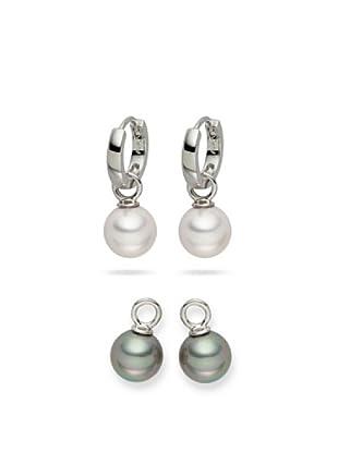 Nova Pearls Copenhagen Ohrringe, 2-Er Set Einhänger Südsee-Muschelkernperlen