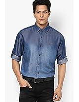 Blue Solid Club Wear Shirt