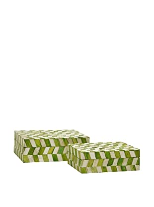 Set of 2 Essentials Green Apple Bone Boxes