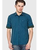 Solid Blue Casual Shirt Le Bison