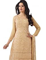 New Fashionable Saddle Brown Long Georgette Salwar Suit