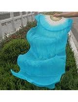 1.8m Lengthen Belly Dance Fan Silk Bamboo Fans Dance Dancing Performance Supplies (Blue)