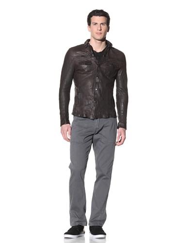 Hip and Bone Men's Kurosawa Leather Shirt (Antique Brown)