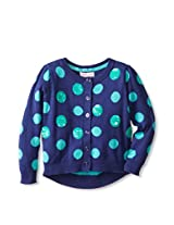 Design History Girl's Polka Dot Cardi With Stripe