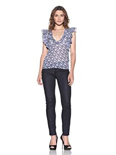 RED Valentino Women's Floral Printed V-Neck Top (Blue)