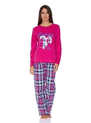 Bluedreams Pijama Punto Liso (Magenta)