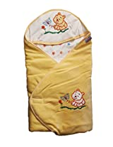 Star and Bear Hooded Wrapper - Peach