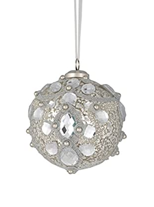 Winward Glitter Mercury Ball Ornament, Clear Silver