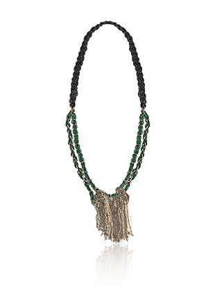 Cortefiel Collar Cadena Tejido (Verde)