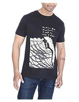 PS Men's Cotton Jade Black C-Neck T-Shirt (Large)