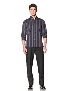 Steven Alan Men's Cropped Collar Button-Front Shirt (navy multi stripe)