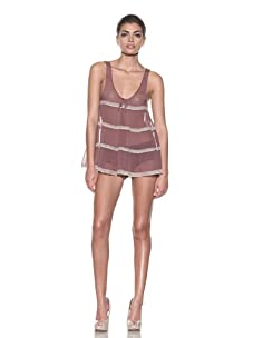 Kiki de Montparnasse Women's Silk Tiered Babydoll Top (Deep Rose)