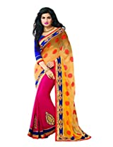 Sourbh Sarees Fuchsia and Orange Viscose and Chiffon Patch Work Best Sarees for Women Party Wear,Women Clothing Collection,Diwali Durga Puja Gifts