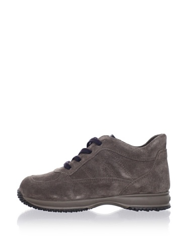 Hogan Kid's Suede Stitched Sneaker (Cafe)