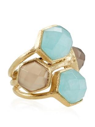Rivka Friedman Caribbean Blue Quartzite & Grey Chalcedony Ring