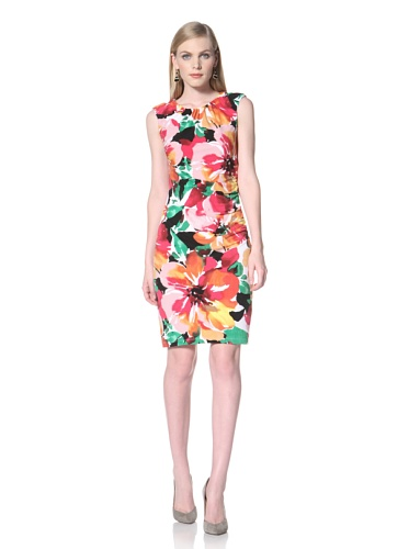 Ellen Tracy Women's Cap Sleeve Printed Jersey Dress with Side Ruching (Floral)