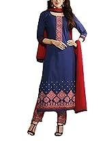 Clickedia Beautiful Cotton Embroidered Navy blue & Maroon churidaar Salwaar Suit