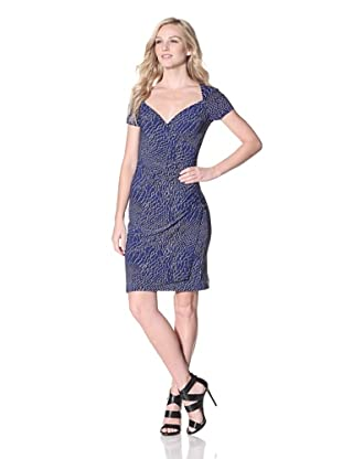KAMALIKULTURE Women's Short Sleeve Sweetheart Draped Dress (Cobalt)
