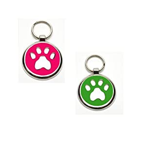 Pink and Green Dog Collar Tags