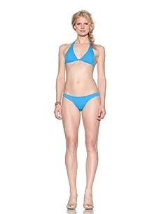 La Isla Women's Halter Top & Full Bikini Bottoms (Turquoise)