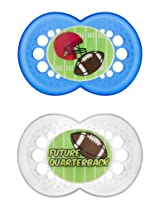MAM Sports Orthodontic Pacifier, Football, 6+ Months, 2-Count