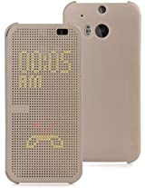 Dot View Interactive Flip Cover Case for HTC One M9 Plus-GOLDEN
