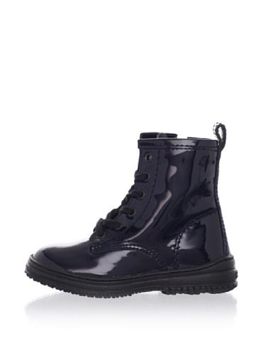 Hogan Kid's Patent Laced Boots (Navy)