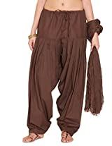 Stylenmart Ladies Brown Cotton Regular Fit With Dupatta Dupatta Patiala Set