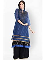 Blue Embellished Kurta