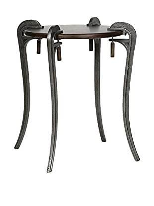 Prima Design Source Clamp Accent Table, Antiqued Pewter