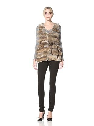 Badgley Mischka  Women's Kris Rabbit Fur Vest (Natural)