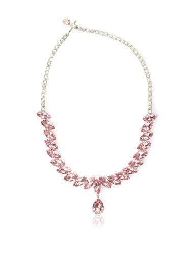 Lulu Frost 1940's Art Deco Teardrop Necklace, Silver/Pink