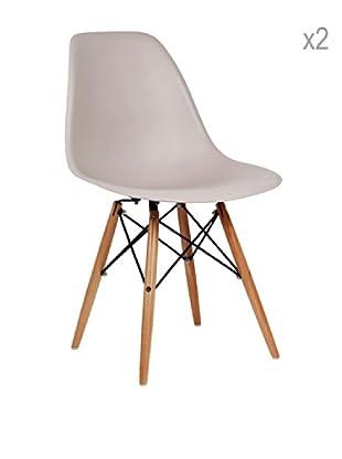 Lo+deModa Set De 2 Sillas Wooden Color Edition Beige