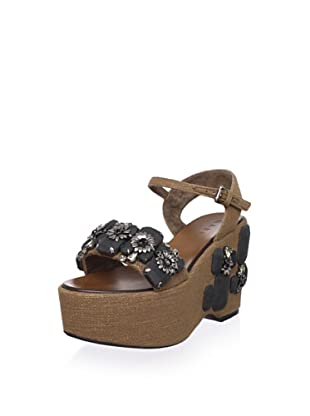 MARNI Women's Jeweled Platform Sandal (Marron/DarkGreen)