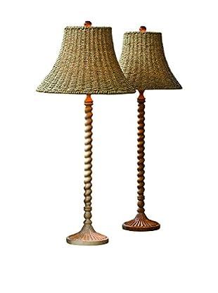 Home Philosophy Natural Wooden Twist Stem Lamp, Natural