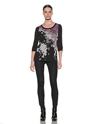 McQ by Alexander McQueen Women's Printed Ruched Sleeve Shirt (Black)