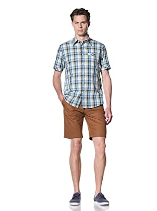 JAMES CAMPBELL Men's Hammy Short Sleeve Plaid Button-Front Shirt (Blue)