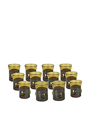 Uptown Down Previously Owned Set of 12 Metal-Trimmed Shot Glasses