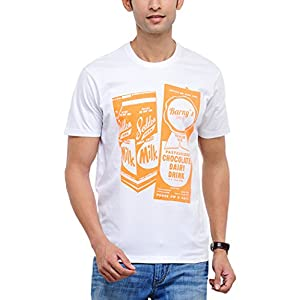 Yepme Men's White Graphic Cotton T-shirt -YPMTEES0075_S