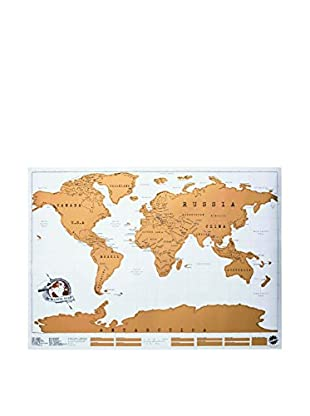 Ambiance Live Wandtattoo World Scratch Map poster - golden foil with multicolored countries - travelling tube included mehrfarbig