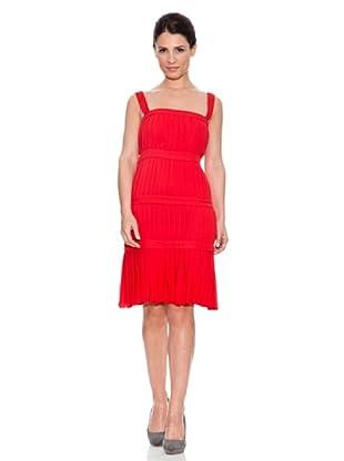 Caramelo Vestido Plisados (Rojo)