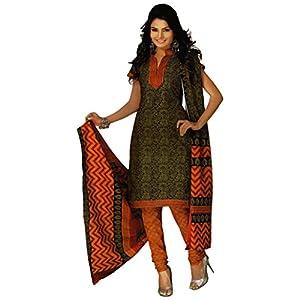Salwar Studio Mehandi & Orange Cotton unstitched churidar kameez with dupatta RTC-5125